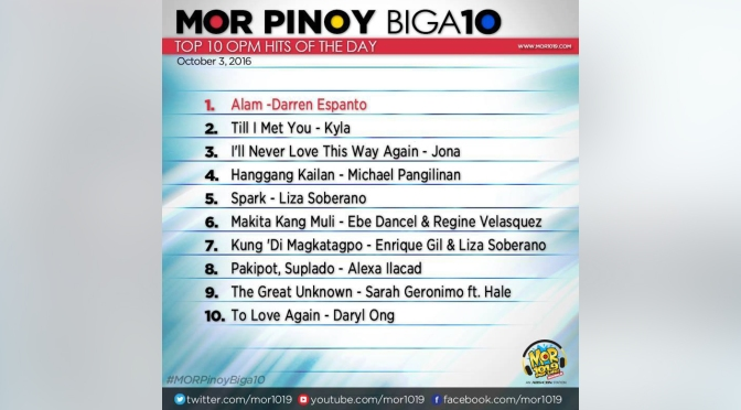 Results for MOR PINOY BIGA10 Top OPM Hits