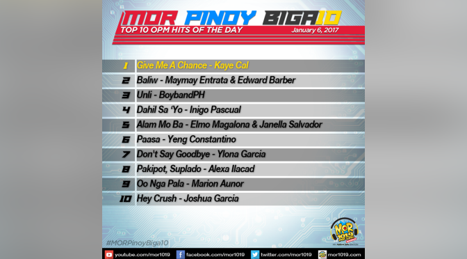 MOR Pinoy Biga10 Top 10 Results January 6 2017