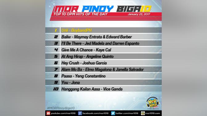 MOR Pinoy Biga10 January 23 2017 MOR 101.9 For Life Manila