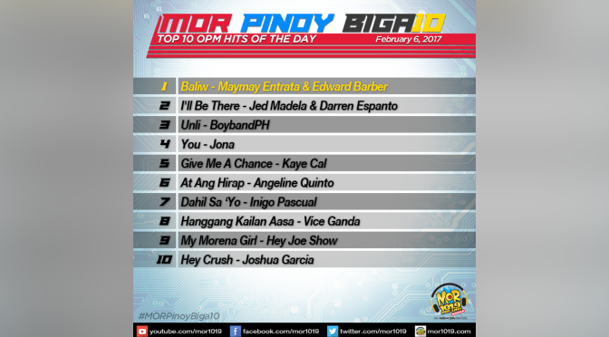 MOR PINOY BIGA10 Top 10 OPM Hits of the Day Feb 6 2017